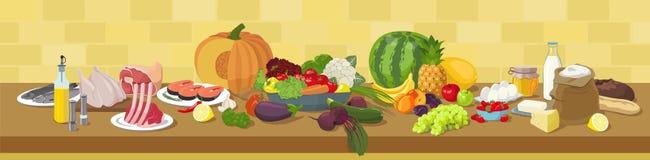 Vue panoramique d'ingrédients de nourriture illustration stock