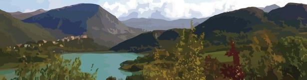 Vue panoramique d'un petit pays central de l'Italie, dessin illustratif illustration libre de droits