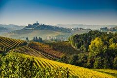 Vue panoramique d'un vignoble dans la région de Langhe pendant l'automne Photo stock