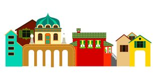 Vue panoramique de bâtiments de petite ville Illustration colorée de vecteur illustration de vecteur