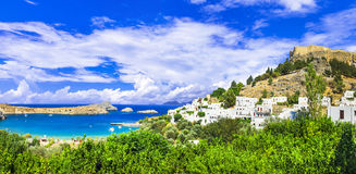 Vue panoramique de baie de Lindos, Rhodes, Grèce photographie stock