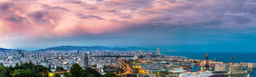 Vue panoramique de Barcelone Photographie stock libre de droits