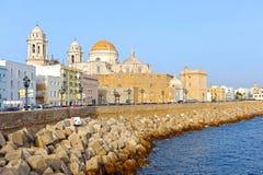 Vue panoramique de Cadix avec la cathédrale, Andalousie, Espagne Photo stock