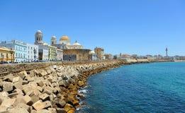 Vue panoramique de Cadix avec la cathédrale, Andalousie, Espagne Image libre de droits