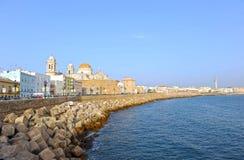 Vue panoramique de Cadix avec la cathédrale, Andalousie, Espagne Photographie stock