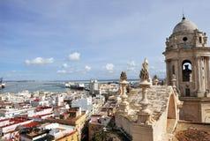 Vue panoramique de Cadix de la tour de la cathédrale, Andalousie, Espagne Photo libre de droits