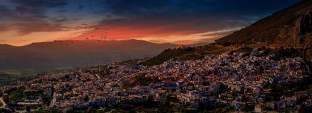 Vue panoramique de CHEFCHAOUN Photos libres de droits