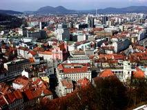Vue panoramique de ci-dessus au centre de la ville de Ljubljana Photographie stock
