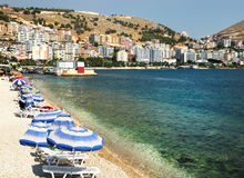 Vue panoramique de compartiment de Saranda photographie stock