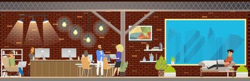 Vue panoramique de Coworking Openspace de grenier illustration de vecteur