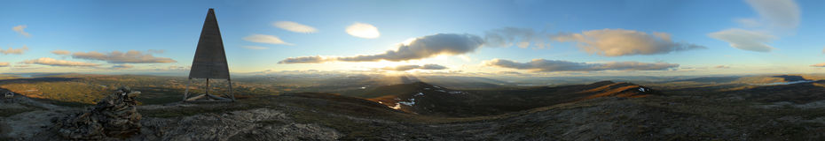 vue panoramique de 360 degrés de la montagne suédoise Ansaett Images stock