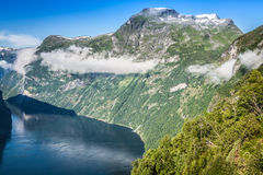 Vue panoramique de fjord de Geiranger, Norvège Photographie stock