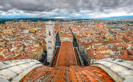 Vue panoramique de Florence de coupole de cathédrale de Duomo images libres de droits