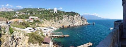Vue panoramique de fond de la voile de roche, Gaspra, Yalta Photos stock