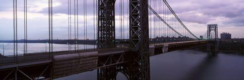 Vue panoramique de George Washington Bridge au-dessus de Hudson River de New York City, NY Image libre de droits