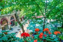 Vue panoramique de haute résolution de Koza Han (bazar en soie) à Brousse, Turquie images stock