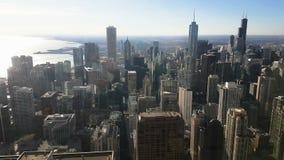 Vue panoramique de jour d'horizon de Chicago de Willis Tower clips vidéos