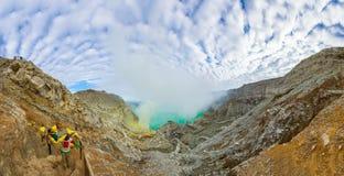 Vue panoramique de Kawah Ijen au lever de soleil, Indonésie Images libres de droits