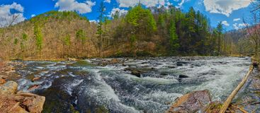 Vue panoramique de la rivière de Tellico photos stock