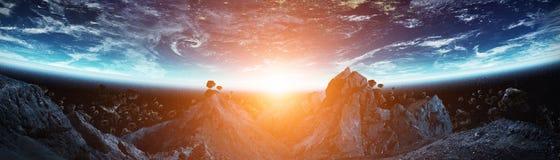 Vue panoramique de la terre de planète avec des asteroïdes pilotant la fin 3D au sujet de Photo stock