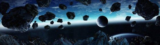 Vue panoramique de la terre de planète avec des asteroïdes pilotant la fin 3D au sujet de illustration libre de droits