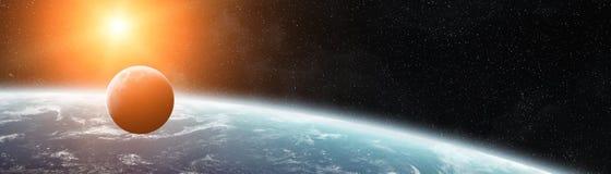Vue panoramique de la terre de planète avec les elemen de rendu de la lune 3D illustration libre de droits