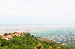 Vue panoramique de la vallée d'Alazani de la taille de la colline Photo libre de droits