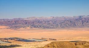 Vue panoramique de la vallée d'Arava : la frontière entre l'Israël à l'ouest et la Jordanie au secteur d'est et de drainage d photo libre de droits