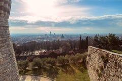 Vue panoramique de la ville de Brescia du château, Italie Photo stock
