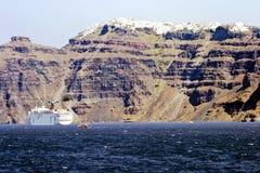 Vue panoramique de la ville de Santorini Photographie stock libre de droits