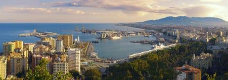 Vue panoramique de la ville de Malaga et du port, Espagne photo stock