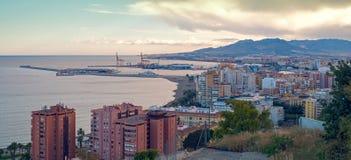 Vue panoramique de la ville de Malaga et du port, Espagne image stock