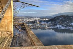 Vue panoramique de lac Bled, Slovénie photographie stock