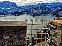 Vue panoramique de lac saigné de château saigné photo stock