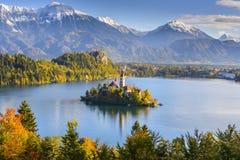 Vue panoramique de lac saignée, Slovénie image libre de droits