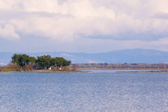 Vue panoramique de lagune de Grado près de Trieste photographie stock libre de droits