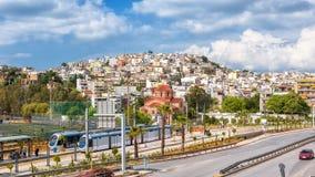 Vue panoramique de Le Pirée près d'Athènes, Grèce image libre de droits