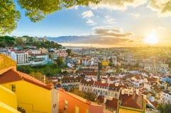 Vue panoramique de Lisbonne au coucher du soleil, Portugal image libre de droits