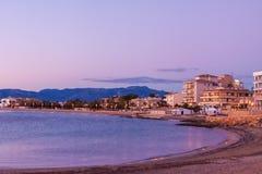 Vue panoramique de littoral de Palma au coucher du soleil Palma, Majorca Image stock