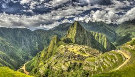 Vue panoramique de Machu Picchu Photo stock