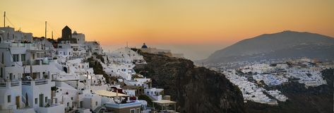 Vue panoramique de matin d'Imerovigli, Santorini photographie stock libre de droits