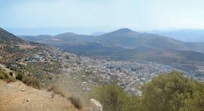 Vue panoramique de mer de la Galilée vers la mer Méditerranée, Israël Images stock