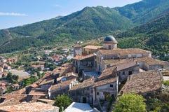 Vue panoramique de Morano Calabro La Calabre l'Italie Images stock