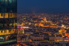 Vue panoramique de Moscou Soirée, coucher du soleil photographie stock libre de droits