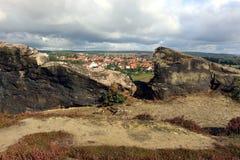 Vue panoramique de mur Teufelsmauer de ` de diables à Weddersleben Photographie stock libre de droits