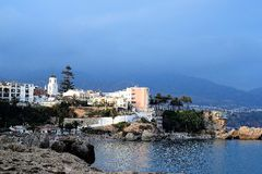 Vue panoramique de Nerja, Andalousie Photographie stock libre de droits
