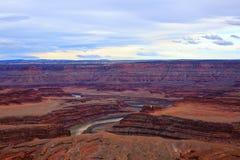 Vue panoramique de parc d'état célèbre de point de cheval mort, Utah photographie stock libre de droits