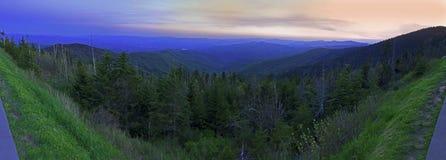 Vue panoramique de parc national de montagnes fumeuses en étés Photo libre de droits