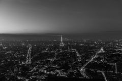 Vue panoramique de Paris noire et blanche Photo libre de droits