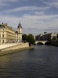 Vue panoramique de passerelle de Pont Neuf de SEINE de fleuve Photo stock